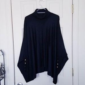 Alfani Black Turtleneck Sweater Poncho